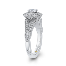 Load image into Gallery viewer, 14K White Gold Round Double Halo Diamond Engagement Ring
