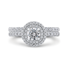 Load image into Gallery viewer, Round Cut Double Halo Diamond Engagement Ring In 14K White Gold