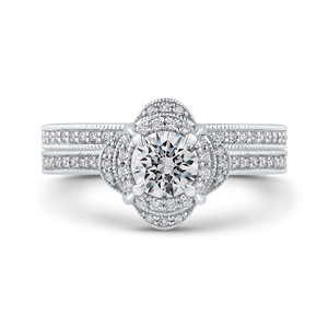 Round Diamond Halo Engagement Ring In 14K White Gold