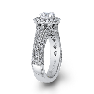 14K White Gold Round Cut Diamond Double Halo Vintage Engagement Ring