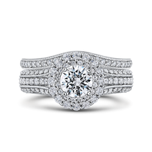 Load image into Gallery viewer, 14K White Gold Round Cut Diamond Double Halo Vintage Engagement Ring