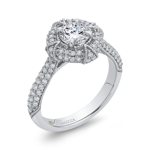 14K White Gold Round Diamond Cathedral Style Halo Engagement Ring