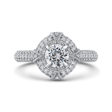 Load image into Gallery viewer, PR0186ECH-44W-.75 Bridal Jewelry Carizza White Gold Round Diamond Halo Engagement Rings