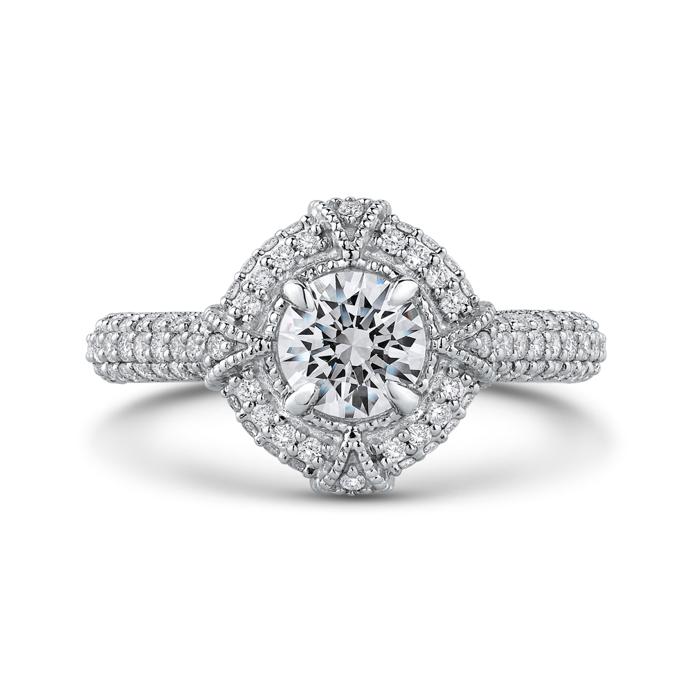PR0186ECH-44W-.75 Bridal Jewelry Carizza White Gold Round Diamond Halo Engagement Rings