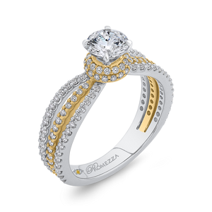 14K Two Tone Gold Round Diamond Engagement Ring with Split Shank