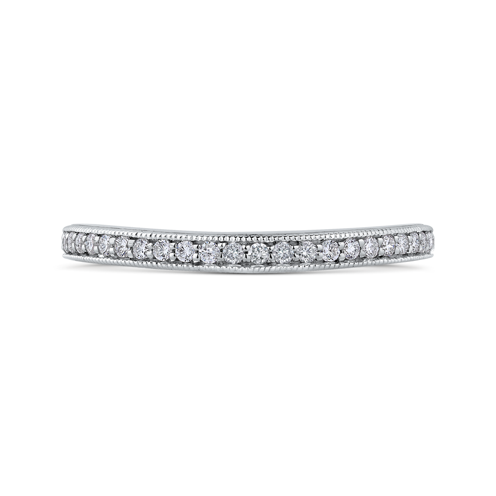 PR0190BH-44W-.50 Bridal Jewelry Carizza White Gold Round Diamond Wedding Bands