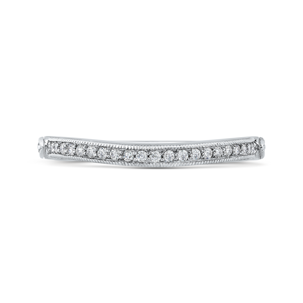 PR0191BH-44W-.50 Bridal Jewelry Carizza White Gold Round Diamond Wedding Bands