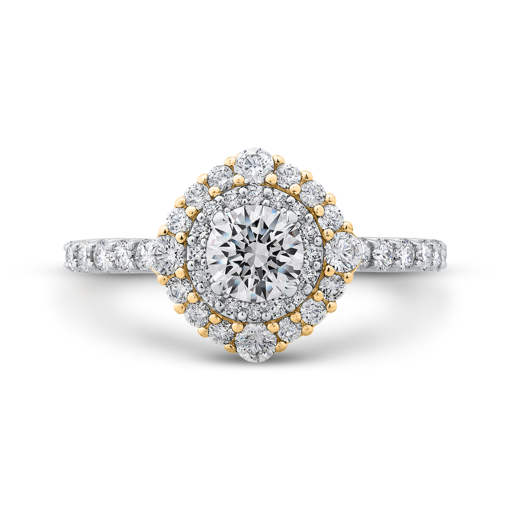 PR0193ECH-44WY-.50 Bridal Jewelry Carizza White Gold Rose Gold Yellow Gold Round Diamond Double Halo Engagement Rings