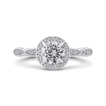Load image into Gallery viewer, PR0198ECH-44W-.75 Bridal Jewelry Carizza White Gold Round Diamond Halo Engagement Rings