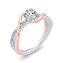 Load image into Gallery viewer, 14K Two Tone Gold Round Diamond Engagement Ring with Split Shank