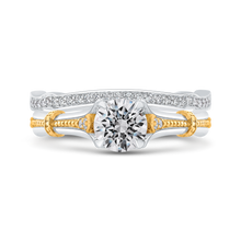 Load image into Gallery viewer, 14K Two Tone Gold Round Diamond Floral Engagement Ring