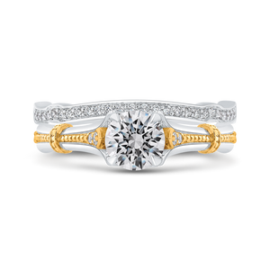 14K Two Tone Gold Round Diamond Floral Engagement Ring