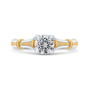 PR0206ECH-44WY-.75 Bridal Jewelry Carizza White Gold Rose Gold Yellow Gold Round Diamond Engagement Rings
