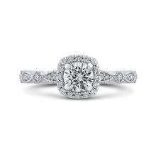 Load image into Gallery viewer, PR0228ECH-44W-.50 Bridal Jewelry Carizza White Gold Round Diamond Halo Engagement Rings