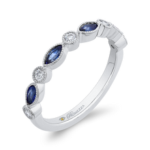 Load image into Gallery viewer, 14K White Gold Round Diamond Wedding Band with Marquise Sapphire