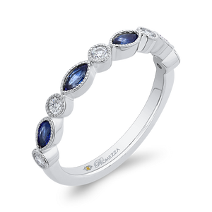 14K White Gold Round Diamond Wedding Band with Marquise Sapphire