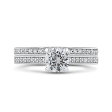 Load image into Gallery viewer, Round Diamond Cathedral Style Engagement Ring In 14K White Gold