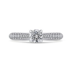 PR0254ECH-44W-.50 Bridal Jewelry Carizza White Gold Round Diamond Engagement Rings