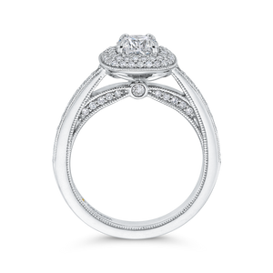 14K White Gold Round Diamond Double Halo Cathedral Style Engagement Ring