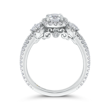 Load image into Gallery viewer, 14K White Gold Round Diamond Halo Engagement with Split Shank