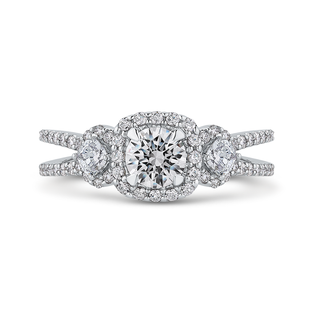 PR0257ECQ-44W-.50 Bridal Jewelry Carizza White Gold Round Diamond Halo Engagement Rings
