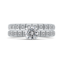 Load image into Gallery viewer, 14K White Gold Round Cut Diamond Floral Engagement Ring