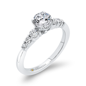14K White Gold Round Cut Diamond Floral Engagement Ring