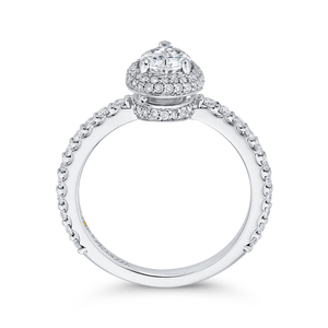 14K White Gold Pear Diamond Halo Engagement Ring