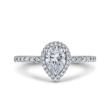 Load image into Gallery viewer, PRA0251ECQ-44W-.75 Bridal Jewelry Carizza White Gold Pear Diamond Halo Engagement Rings