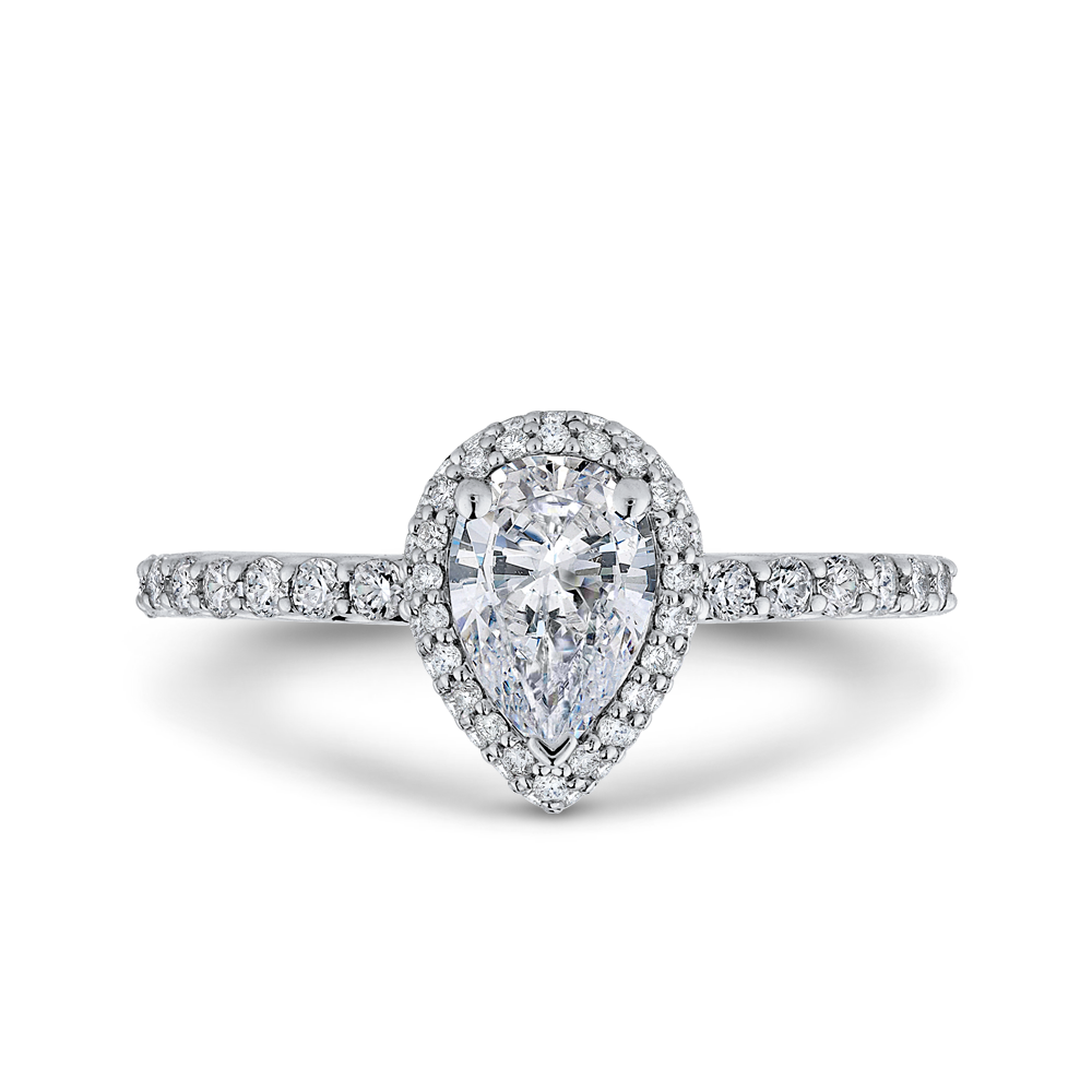 PRA0251ECQ-44W-.75 Bridal Jewelry Carizza White Gold Pear Diamond Halo Engagement Rings