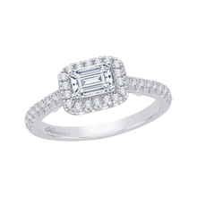 Load image into Gallery viewer, 14K White Gold Emerald Cut Diamond Halo Engagement Ring