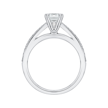 Load image into Gallery viewer, 14K White Gold Emerald Cut Diamond Cathedral Style Engagement Ring