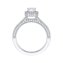 Load image into Gallery viewer, 14K White Gold Emerald Diamond Halo Engagement Ring