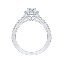 Load image into Gallery viewer, 14K White Gold Oval Diamond Halo Engagement Ring with Split Shank