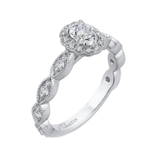 Load image into Gallery viewer, 14K White Gold Oval Diamond Halo Engagement Ring