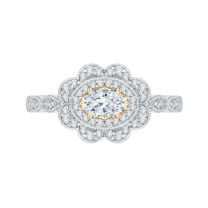 PRO0107ECH-44WY-.50 Bridal Jewelry Carizza White Gold Rose Gold Yellow Gold Oval Diamond Halo Engagement Rings
