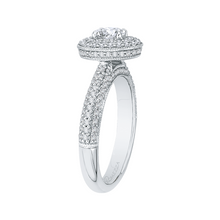 Load image into Gallery viewer, 14K White Gold Oval Diamond Double Halo Engagement Ring