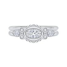 Load image into Gallery viewer, 14K White Gold Oval Diamond Engagement Ring