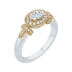14K Two Tone Gold Oval Diamond Halo Engagement Ring