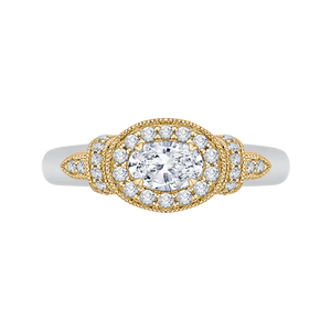 PRO0151EC-44WY-.50 Bridal Jewelry Carizza White Gold Rose Gold Yellow Gold Oval Diamond Halo Engagement Rings