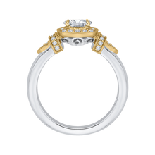 Load image into Gallery viewer, 14K Two Tone Gold Oval Diamond Halo Engagement Ring