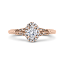 Load image into Gallery viewer, PRO0250EC-44P-.50 Bridal Jewelry Carizza Rose Gold Oval Diamond Halo Engagement Rings