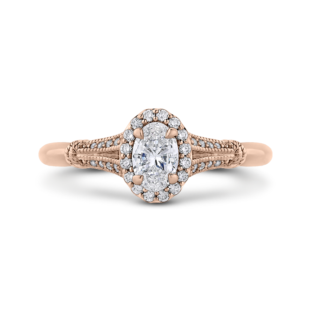 PRO0250EC-44P-.50 Bridal Jewelry Carizza Rose Gold Oval Diamond Halo Engagement Rings