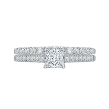 Load image into Gallery viewer, 14K White Gold Princess Diamond Cathedral Style Engagement Ring