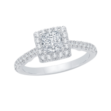 Load image into Gallery viewer, 14K White Gold Princess Diamond Halo Engagement Ring