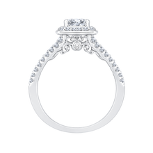 Load image into Gallery viewer, 14K White Gold Princess Diamond Halo Engagement Ring with Split Shank