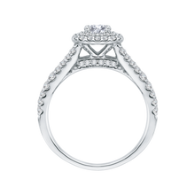 Load image into Gallery viewer, 14K White Gold Princess Diamond Double Halo Engagement Ring with Split Shank