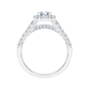 14K White Gold Princess Cut Diamond Halo Engagement Ring