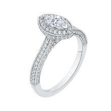 Load image into Gallery viewer, Marquise Diamond Halo Engagement Ring In 14K White Gold