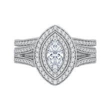 Load image into Gallery viewer, 14K White Gold Marquise Diamond Double Halo Engagement Ring with Split Shank